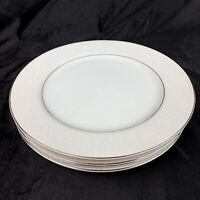 """Vtg Lot Of 4 Crown Victoria Lovelace 10-3/8"""" Dinner Plates Fine China Silver"""