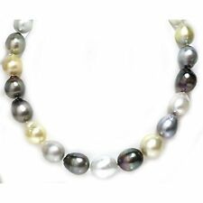 Tahitian & South Sea Baroque Pearl Necklace 17.5 - 15 MM Multi Color 14k Gold