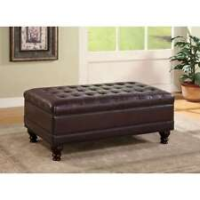 Tufted Ottoman With Storage Dark Brown Faux Leather Lift Top Bedroom Accent