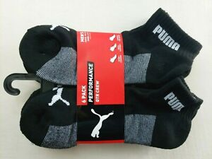 Puma Men's Quarter Crew Socks L 6 Pack Black Performance Half Terry New MSPR$18