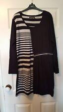 Claire DK black striped tunic dress size 14