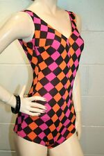 S Black Orange Pink Diamond Vintage 50s 60s One Piece SURF TOGS Pin Up Swimsuit