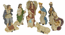 9 Piece Traditional Resin Small Christmas Nativity Figurine Display Set