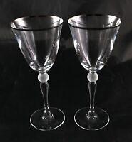 Pair of lovely Vintage Crystal white ball stemmed wine or water glasses