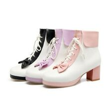 Women Ankle Boots Goth Chunky Heel Bowknot Lolita Round Toe Bootie Lace Up Shoes