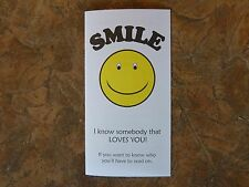 100 Smile Gospel Tracts - Share your faith - God  -Ships FREE