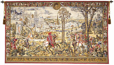 """WALL TAPESTRY MEDIEVAL BRUSSELS MAXIMILIAN HUNTER HORSE 52""""x98"""""""