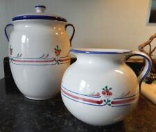 Vintage Hand Painted Italian Cookie Jar & Milk Pitcher~VGC~Very Clean~Fast Ship!