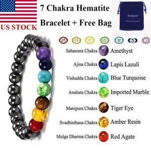 7 Chakras Magnetic Hematite Healing Bracelet Bangle Beads Weight Loss Unisex US