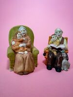 Vintage Grandparents And Grandchildren Ceramic Figures