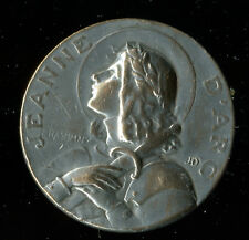 ANTIQUE LARGE SILVERED MEDAL OF ST JOAN OF ARC DATED 1920