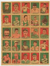 1923 German Baseball Stamps Full Set on Sheet Babe Ruth Ty Cobb 25 Total