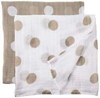 Lulujo Baby Swaddles Cotton/Muslin 2 Blanket Set, Tan & White Designed in Canada