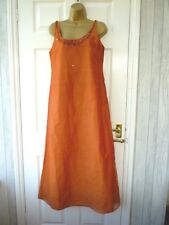 BRIDES IN THE SUN Ladies Size 10 12 Orange Sequin 100% Silk Full Length Dress