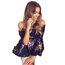 UK Women Off Shoulder Blouse Tops Ladies Flare Sleeve Floral Chiffon Loose Shirt