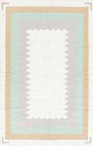 Charming Contemporary Ivory Dhurrie Kilim Hand-Woven Oriental 6x9 Area Wool Rug