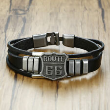 Punk Leather Men Bracelet Cuff Wristband Surfer Route 66 Biker Friendship Gift