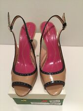 Kate Spade Patent Slingback Sandals Camel And Black Patent Gala Size 9