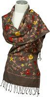 Schal Bestickt Schmal Braun Embroidered Scarf Wool Wolle 100% Brown