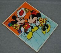 Mickey And Minnie Playskool Wooden Puzzle 7 Pieces Made In USA