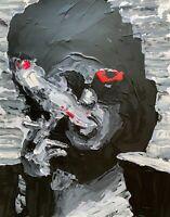 ORIGINAL Marla Singer Smoking Cigarette Fight Club Abstract Pop Art Painting