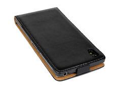 Black Genuine Leather Flip Case Cover Skin For Sony Xperia Z1 L39