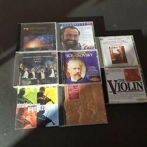 8 x classical CD's- Pavarotti Beethoven Tchaikovsky Vivaldi + 3 Violin CDs