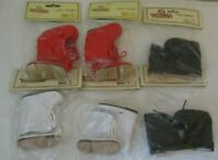 """Tallena's Doll Shoes~6 pairs~Style SMO4, Sole size 2.5""""~Red, White & Black boots"""