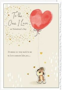 "Hallmark ""To the One I Love"" Valentine's Day Card Dog With Heart Balloon"
