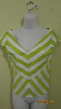 NWT BEBE STRIPED CAP SLEEVE CROP TOP SIZE L