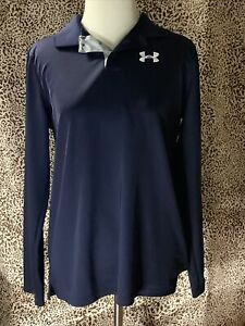 Youth Boy's Under Armour Blue Long-Sleeve Polo Top Size XL