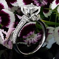 Pave Knife Edge 1 Ct Princess Cut Diamond Engagement Ring White Gold 14k VS2 F
