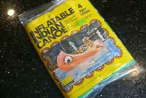 Vintage 1970's Inflatable INDIAN CANOE GREEN Pool Float Raft Toy ✨NEVER USED✨