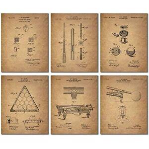 Billiards Patent Wall Art Prints - Set Of 6 Vintage Pool Historical Photos &