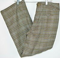 Talbots Wool Blend Cream Black Gold Plaid Trouser Pants Wide Leg 10 Petite EUC