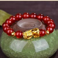 ONSALE Pure 24K Yellow Gold 14*8mm 3D Lucky Pixiu Link Red Agate Chain Bracelet