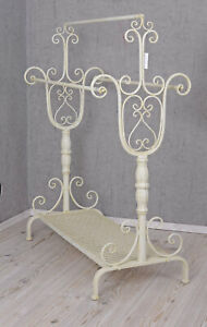 Handtowel Stand Shabby Chic Towel Rail Antique White Standing Rack Style