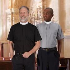 Neckband Clergy Shirt Short Sleeve Liturgical Vestment Polyester/Cotton Boxed