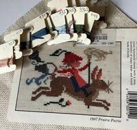 """""""Prairie Faire 1997"""" """"Cross Stitch Kit"""" Prairie Schooler, DMC Floss, Aida cloth"""