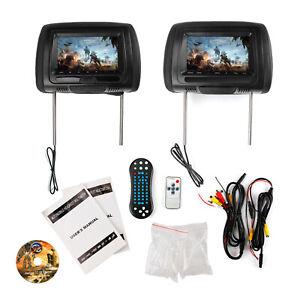 "Pair HD 7"" Car Headrest Digital Monitor Video DVD Player HDMI Game USB TV IR SD"