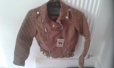 Ladies brown suede jacket coat small s 10 100% vegan present gift clothes ladies