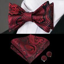 Mens Self Bowtie Silk Black Red Burgundy Paisley Bow Tie Hanky Cufflinks Set Lot