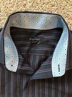 Ziggurat Mens Button Front Long Sleeve Dress Shirt Flip Cuffs Black & Blue Sz M
