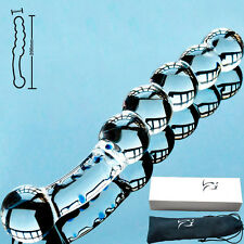 Double Ended Glass Dildo-Curved Beads With Blue Dots - 190mm