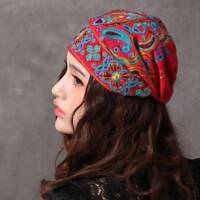 Women Navy Vintage Beanie Caps Ethnic Embroidery Flowers Slouch Skullcap Cotton