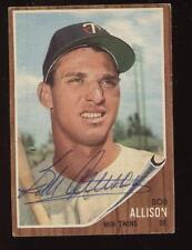 1962 Topps Baseball Card #180 Bob Allison Autographed