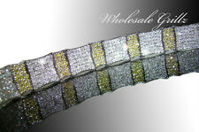 "NEW!! $399 Mens 8.5"" Simulated Yellow Diamond 14k White Gold GP Hip Hop Bracelet"