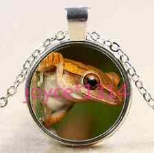Glass Chain Pendant Necklace #2381 Vintage Frog Cabochon Tibetan silver