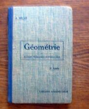 Livre scolaire ancien GÉOMÉTRIE 2° année Armand Colin 1933