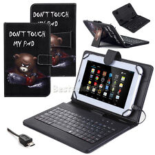 """US For Amazon Kindle Fire HD 8 2017 8"""" New Leather Micro USB Keyboard Case Cover"""